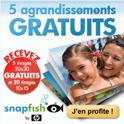 SNAPFISH : 5 agrandissements gratuits et 20 tirages photos gratuits !